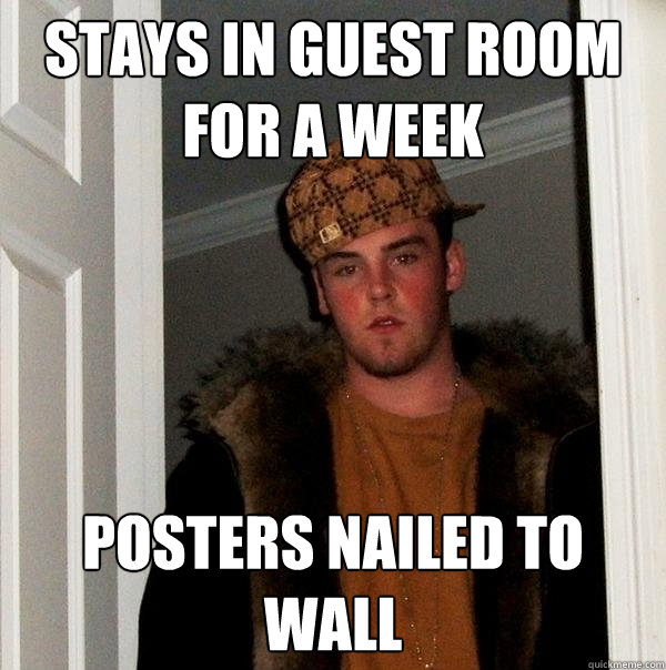 Stays in guest room for a week posters nailed to wall - Stays in guest room for a week posters nailed to wall  Scumbag Steve