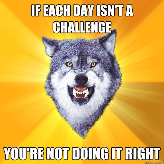 If each day isn't a challenge You're not doing it right - If each day isn't a challenge You're not doing it right  Courage Wolf