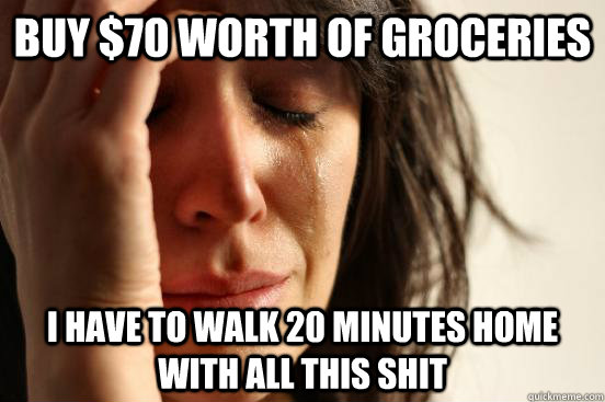 Buy $70 worth of groceries I have to walk 20 minutes home with all this shit - Buy $70 worth of groceries I have to walk 20 minutes home with all this shit  Atheist First World Problems