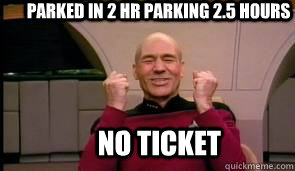 parked in 2 hr parking 2.5 hours no ticket