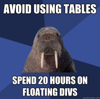 avoid using tables spend 20 hours on floating divs - avoid using tables spend 20 hours on floating divs  Web Developer Walrus