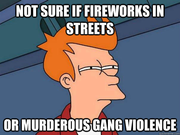 not sure if fireworks in streets or murderous gang violence - not sure if fireworks in streets or murderous gang violence  Futurama Fry