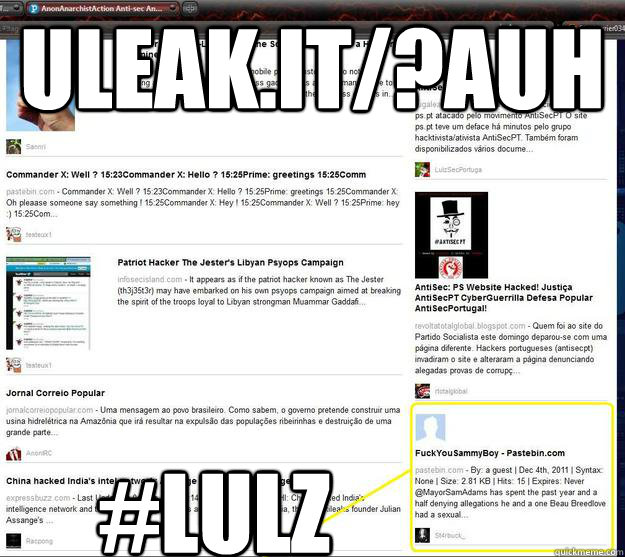 uleak it/?auh #lulz - Hai MayorSamAdams - quickmeme
