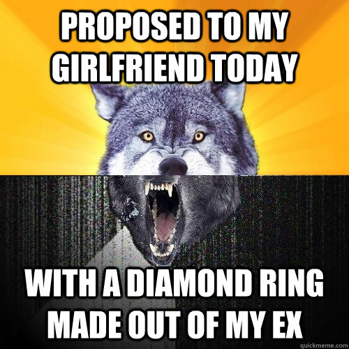 proposed to my girlfriend today with a diamond ring made out of my ex - proposed to my girlfriend today with a diamond ring made out of my ex  Courage-Insanity Wolf