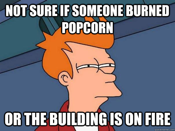 Not sure if someone burned popcorn or the building is on fire - Not sure if someone burned popcorn or the building is on fire  Futurama Fry