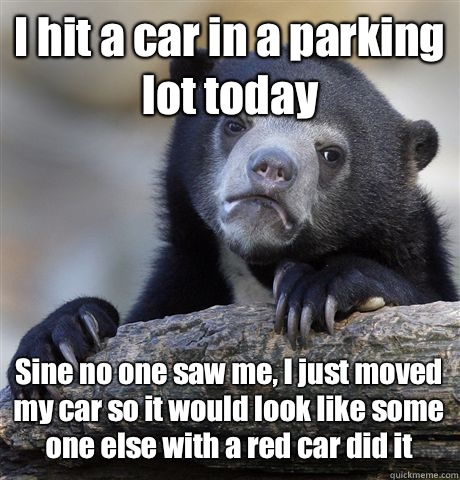 I hit a car in a parking lot today  Sine no one saw me, I just moved my car so it would look like some one else with a red car did it  Confession Bear