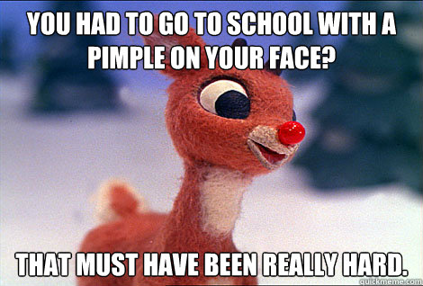 You had to go to school with a pimple on your face? That must have been really hard.    Condescending Rudolph